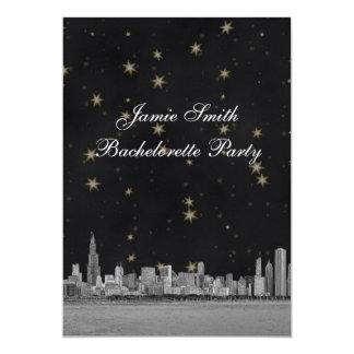 Chicago Skyline Blk Gold Star Bachelorette V 13 Cm X 18 Cm Invitation Card