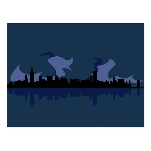 Chicago Skyline (blue) Post Card