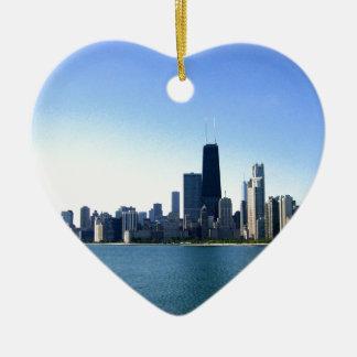 Chicago Skyline Ceramic Heart Decoration