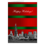 Chicago Skyline Christmas Holiday Red Green Grd Card