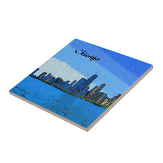 Chicago Skyline Collage Paint Tile
