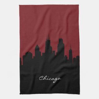 Chicago Skyline   Dark Red Tea Towel