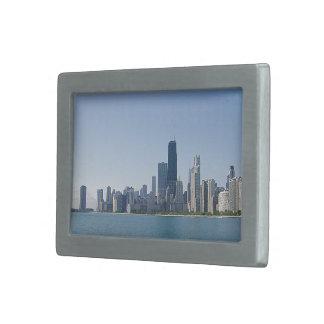 Chicago Skyline Deeper Blue Photo Rectangular Belt Buckles