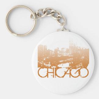 Chicago Skyline Design Basic Round Button Key Ring