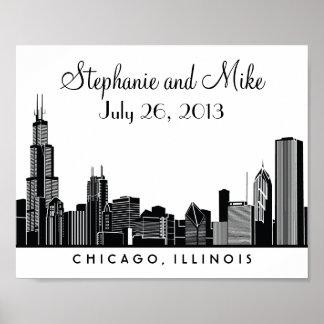 Chicago Skyline Design Wedding Reception Print