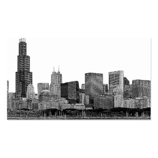 Chicago Skyline Etched Double-Sided Standard Business Cards (Pack Of 100)