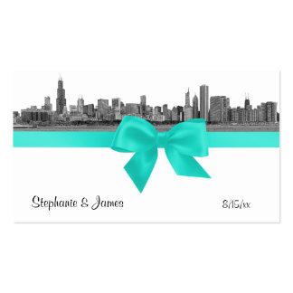 Chicago Skyline Etched BW Aqua Escort Cards Pack Of Standard Business Cards