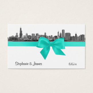Chicago Skyline Etched BW Aqua Place Cards #2