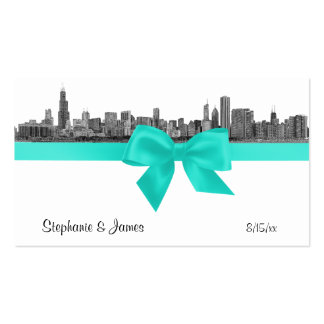 Chicago Skyline Etched BW Aqua Place Cards #2 Business Card Templates