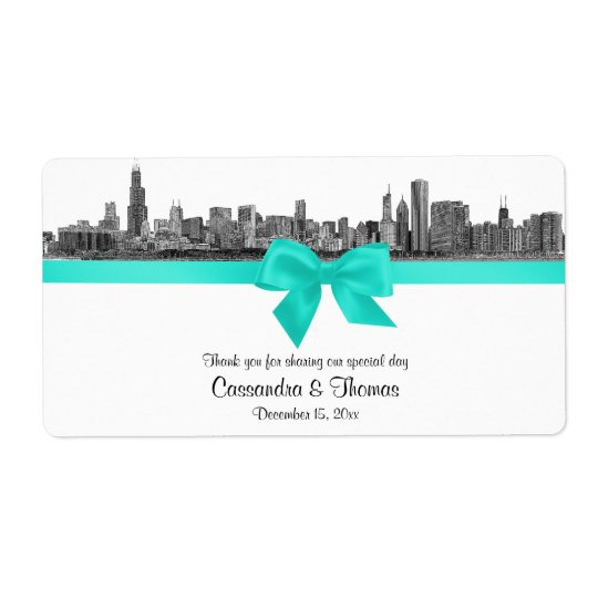 Chicago Skyline Etched BW Aqua Wine Label H Shipping Label