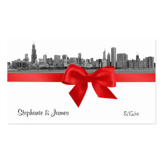 Chicago Skyline Etched BW Red Escort Cards Pack Of Standard Business Cards