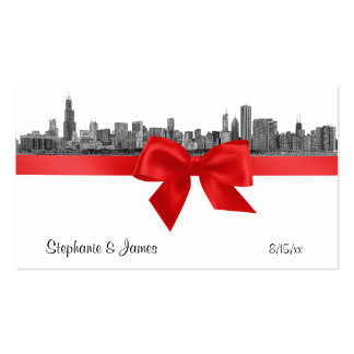 Chicago Skyline Etched BW Red Place Cards #2 Pack Of Standard Business Cards