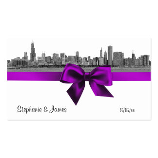 Chicago Skyline Etched BW Violet Escort Cards Pack Of Standard Business Cards