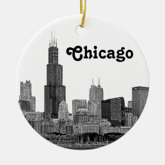 Chicago Skyline Etched Christmas Ornament
