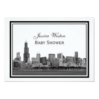 Chicago Skyline Etched Framed #2 H Baby Shower 13 Cm X 18 Cm Invitation Card
