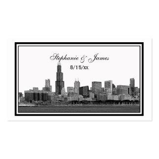 Chicago Skyline Etched Framed Escort Cards Business Card Template