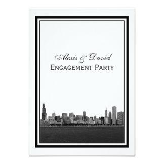Chicago Skyline Etched Framed V Engagement 13 Cm X 18 Cm Invitation Card