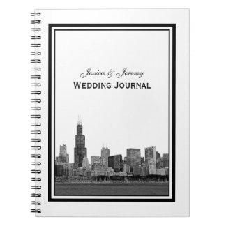 Chicago Skyline Etched Framed Wedding Journal