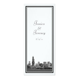 Chicago Skyline Etched Framed Wedding Program Menu 10 Cm X 24 Cm Invitation Card