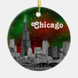 Chicago Skyline Etched, Green Red Starry Sky Xmas