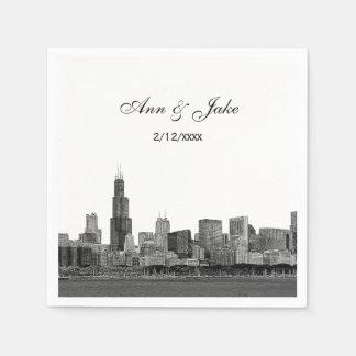 Chicago Skyline Etched Look Skyline Wedding Paper Serviettes