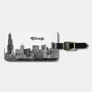 Chicago Skyline Etched Luggage Tag