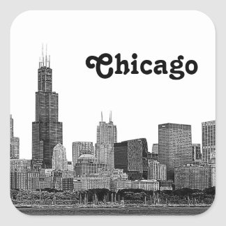 Chicago Skyline Etched Square Sticker