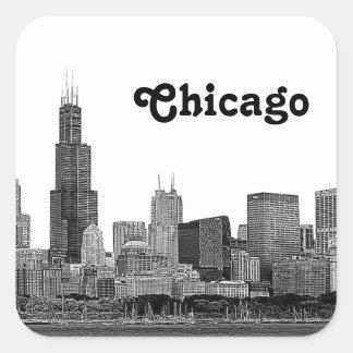 Chicago Skyline Etched Square Sticker