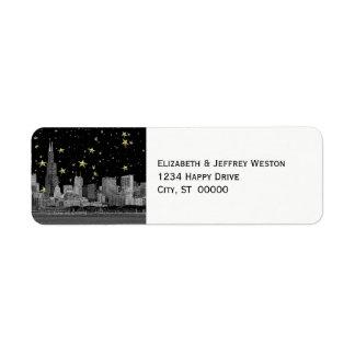 Chicago Skyline Etched Starry DIY BG Address Label