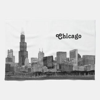 Chicago Skyline Etched Tea Towel