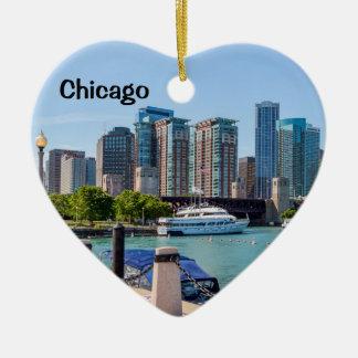 Chicago Skyline from Grant Park Ceramic Heart Decoration
