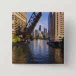 Chicago Skyline from the Kinzie St Bridge 15 Cm Square Badge