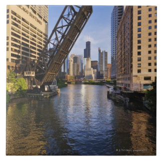 Chicago Skyline from the Kinzie St Bridge Large Square Tile