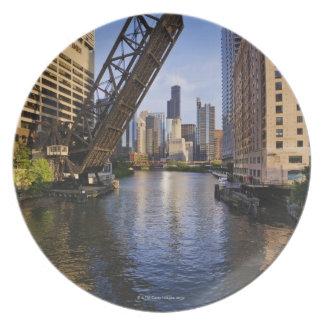 Chicago Skyline from the Kinzie St Bridge Plate