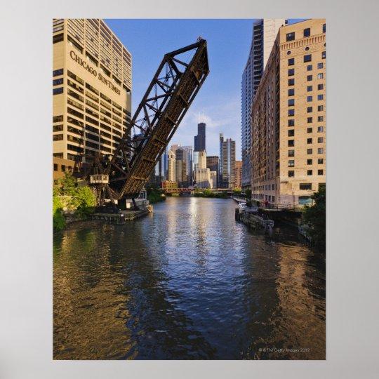 Chicago Skyline from the Kinzie St Bridge Poster
