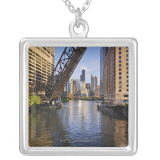 Chicago Skyline from the Kinzie St Bridge Silver Plated Necklace