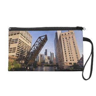 Chicago Skyline from the Kinzie Street Bridge Wristlet Clutches