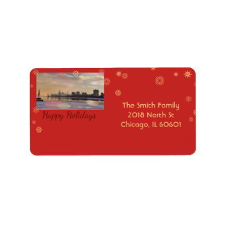 Chicago Skyline - Happy Holidays Address Label