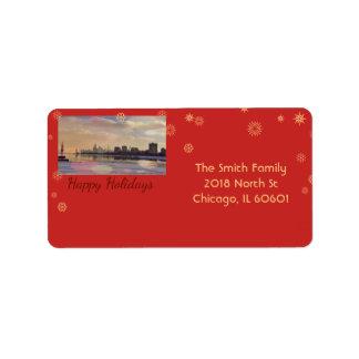 Chicago Skyline - Happy Holidays Label