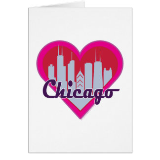 Chicago Skyline Heart Greeting Card