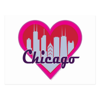 Chicago Skyline Heart Post Cards