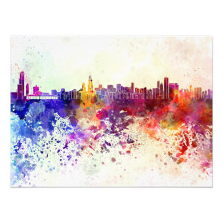 Chicago skyline in watercolor background photograph