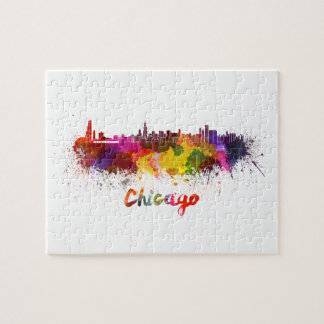 Chicago skyline in watercolor jigsaw puzzle