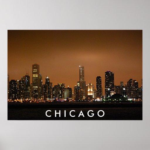 Chicago Skyline - Navy Pier Poster