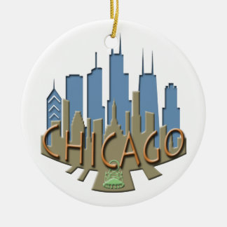 Chicago Skyline newwave beachy Christmas Ornament