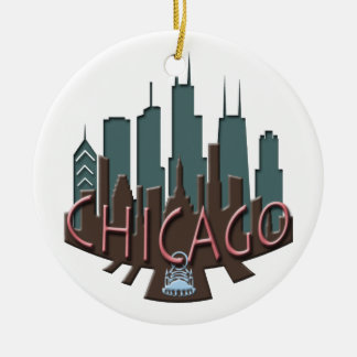 Chicago Skyline newwave chocolate Christmas Ornament