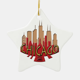 Chicago Skyline newwave hot Christmas Ornament