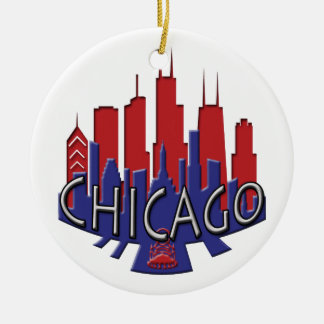 Chicago Skyline newwave patriot Christmas Ornament