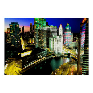 Chicago Skyline Nightime Poster