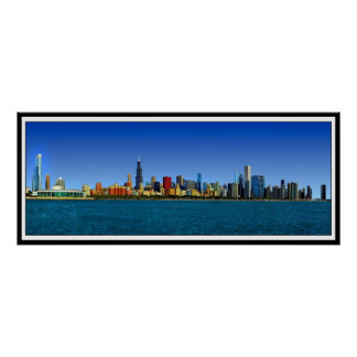 CHICAGO SKYLINE PANORAMA POSTER
